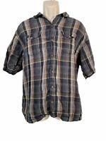Tommy Bahama Short Sleeve Shirt Button Down M100% Linen Plaid Check Size XL