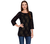 Linea by Louis Dell'Olio Textured 3/4 Sleeve Knit Top Color Black Size Medium