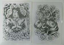 2 laminated derek higham vintage tattoo flash sheets reprints NOT MACHINE