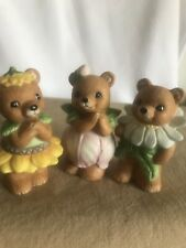 3 Homco Bears Figurines #8768 Spring flower bears yellow, green & pink flowers
