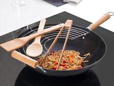 Grande Base Plana Wok Pan Juego China freír Cazo con alimentos estantería &