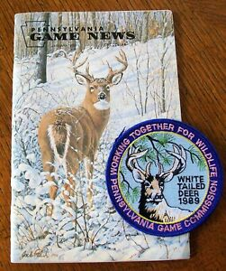 PA GAME COMM.  WTFW SERIES 1989 WHITETAIL BUCK PATCH W JAN. 1989 PA GAME NEWS