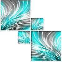 SILVER GREY & TURQUOISE CANVAS PICTURES ABSTRACT WALL ART SQUARE 4 PIECE 104cm