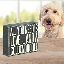 JennyGems Wood Box Sign All You Need Is Love And A Goldendoodle