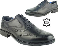 Mens Real Leather Lace Up Oxford Brogues Smart Formal Office Casual Shoes Sz7-12