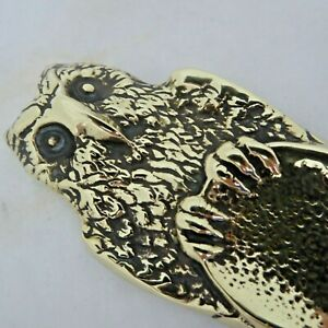 """VINTAGE Brass Letter Opener With OWL Decoration  to Top -  length 7"""" - gleaming"""