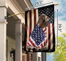 New listing Liver and White Springer Spaniel American Patriot Flag Garden Flag / House Flag
