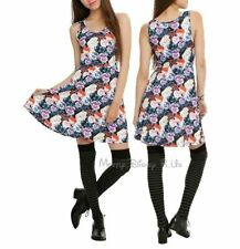 New Disney Alice In Wonderland Pansies Print Dress Juniors Size M Fit & Flare