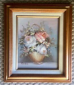 "Beautiful Original Vintage Still Life Oil Painting Signed/Framed 13x15"""