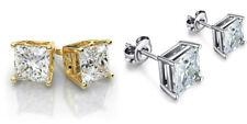 Gold Stainless Steel Stud Earrings Cubic Zirconia Men Women 2PC Box Earrings Set