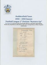 HUDDERSFIELD TOWN 1933-1934 VERY RARE ORIGINAL HAND SIGNED PAGE 12 X SIGNATURES
