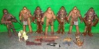 Star Wars ROTS Kashyyyk Wookiee + Yoda + Chewbacca Lot - 8 Action Figures