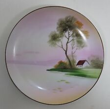 Hand Painted Nippon Landscape Collectors Plate Tree & Building
