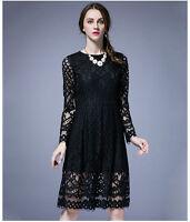 New Womens Ladies Casual Dress Tunic Long Sleeve AU Size 14 16 18 20 22 24 #3004