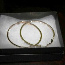 Diamond Alternatives Inside Out Hoop Earrings 2 Inch 14k Yellow Gold over 925 SS