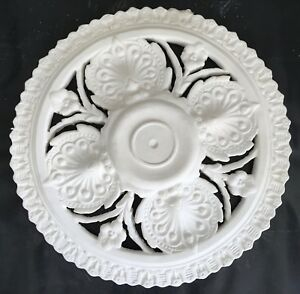 PR03 Pierced Ceiling Rose in Fibrous Plaster - 590mm - COLLECTION ONLY
