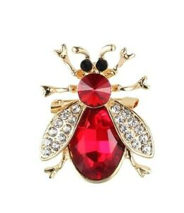 Large Sparkling Rhinestone Ruby Red Bee Pin, Dazzling Red Stones, Golden Accents