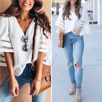 Fashion Summer Women's Bell Sleeve Loose Shirt Ladies V Neck Casual Blouse Tops