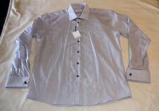 Calvin Klein Mens Blue Stripe Slim Fit Cotton Long Sleeve Shirt Size 42 New
