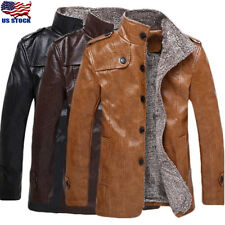 Winter Men's Warm Jacket Leather Coat Fur Parka Fleece Stand Collar Overcoat Top