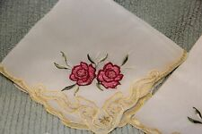 Vintage Embroidered napkins Red Rose with yellow trim   (Set of 4)
