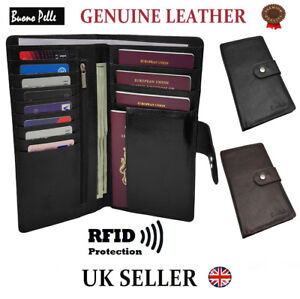 RFID Safe Passport Wallet Leather Designer Travel Document Cover Card Holder