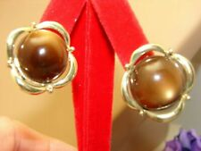 Vintage Coro Brown Moon Glow Thermoset Plastic Clip on Earrings