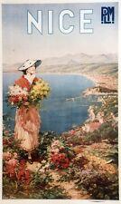 """""""NICE / P.L.M."""" Affiche originale entoilée litho Pierre COMBA 1910 65x103cm"""