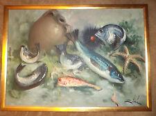 VINTAGE sushi FISH starfish shrimp hand painted original oil painting by ZINI