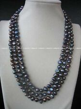 """3rows freshwater pearl baroque black 8-9mm necklace 18-20"""" nature beads"""