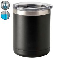 10 oz Lowball Tumbler Vacuum Insulated Double Wall Cup Mug Stainless Steel Black