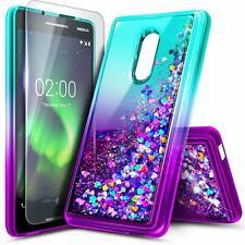 For Nokia 3 V / Nokia 3.2 Case Liquid Glitter Bling Phone Cover + Tempered Glass