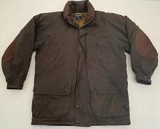 Green Nautica Duck Down Winter Jacket Parka Leather Accents Mens Size Medium EUC