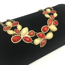 Shiny Faceted Red Stone Necklace Gold Tone Warm Floral Orange Statement Evening