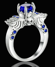 Skull Blue Sapphire Engagement Ring Women/Men's white Gold Plated Jewelry size 7