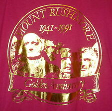 Vintage 90s Mount Rushmore 1991 Golden Anniversary 50/50 T Shirt Red XL