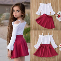 Wave Point Print Half Skirt Dress Clothes UK Cute Baby Girls Kids Striped Tops