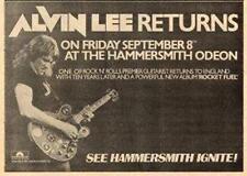 Alvin Lee Rocket Fuel TYA UK show advert 1978