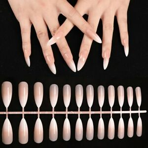 False nails UV Gel Stiletto French Ombre Gloss Extra Long 24pk + nail tabs