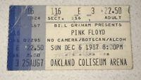 **PINK FLOYD** @ OAKLAND COLISEUM ARENA 12/6/1987 Concert Used Torn Ticket Stub