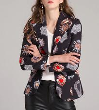 BC01 Women Black Heart Floral Printed Fashion Slim Single Breasted Blazer Jacket