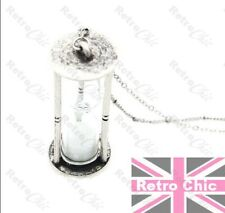 LARGE HOURGLASS pendant VINTAGE SILVER  fashion TIMER GLASS VIAL long NECKLACE