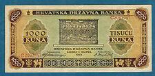 CROATIE - 1000 KUNA Pick n° 12. du 1-9-1943. en SUP   C2087947