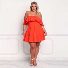Women Plus Size Off Shoulder Clubwear Ruffle Party Cocktail Frill Mini Dress