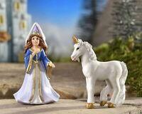Miniature Dollhouse Fairy Garden Medieval Times Princess & Unicorn Set Of 2