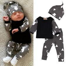 3tlg Neugeborene Baby Mädchen Jungen T-shirt Lang Hose Hut Freizeit Outfit Set