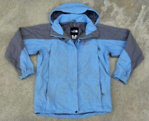 The North Face HyVent hooded Ski Snow Rain Jacket women's M Light blue & gray