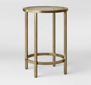 """Threshold Accent Table 16"""" x 22.5"""" Round Gold Glass Metal"""