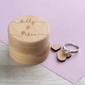 Personalised Wedding Ring Box Ring Bearer Holder Proposal Laser Engraved