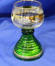 Vintage Green Music Box Glass Goblet Gold Gilded Auf Wiedersehen Swiss Vt1241